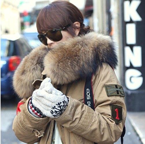 Large Natural Raccoon Fur Collar Fur Wadded font b Jacket b font Cotton Overcoat Plus Size