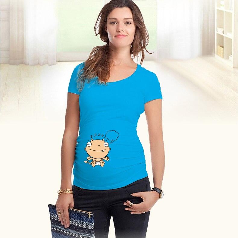 """""""Bebek Dreaming"""" Komik Baskı Rahat Hamile Kıyafetleri Gömlek yaz tarzı hamile artı boyutu avrupa büyük boy XXL"""