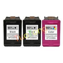 hisaint 3Pk Printer Ink Cartridge For HP 901XL CC654AC CC655AC For HP J4500 4540 4550 J4580 J4680 Printer Free Shipping Hot Sale