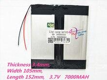 1 шт 34105152 3,7 в 7000 мАч 3476105*2 (полимерная литий ионная батарея) литий ионная батарея для планшетного ПК 8 дюймов 9 дюймов 10 дюймов