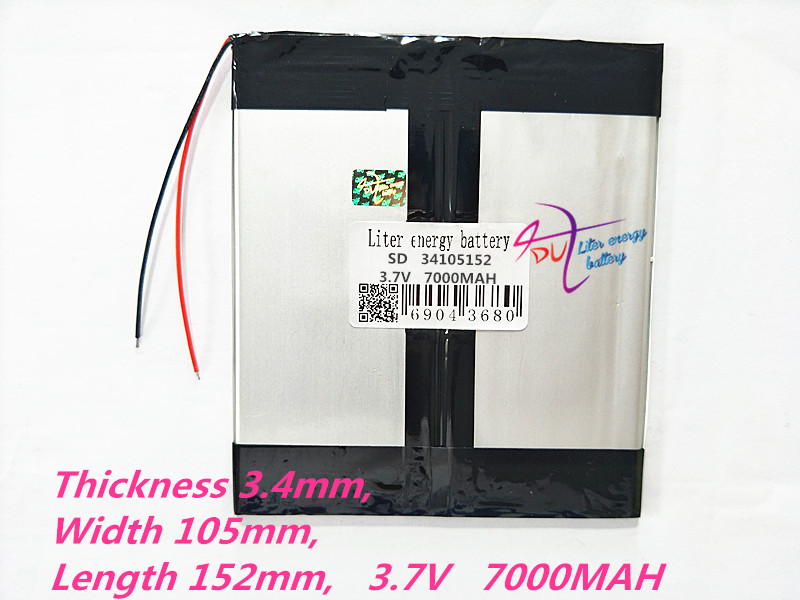 1pcs 34105152 3.7V 7000mAH 3476105*2 (polymer Lithium Ion Battery) Li-ion Battery For Tablet Pc 8 Inch 9 Inch 10 Inch