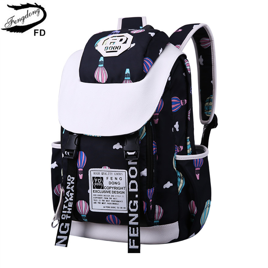 все цены на FengDong school bags for teenage girls back pack cute ballon printing waterproof backpack schoolbag kawaii backpacks woman 2018 онлайн