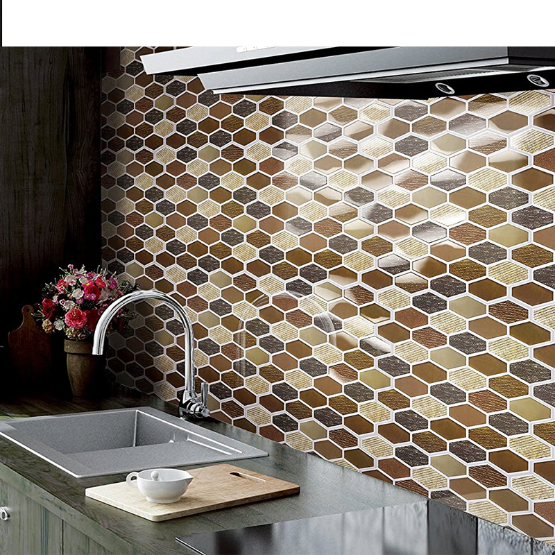 10 Pack Peel and Stick Tile 10.5x Adhesive Vinyl 3D Wall Tiles,