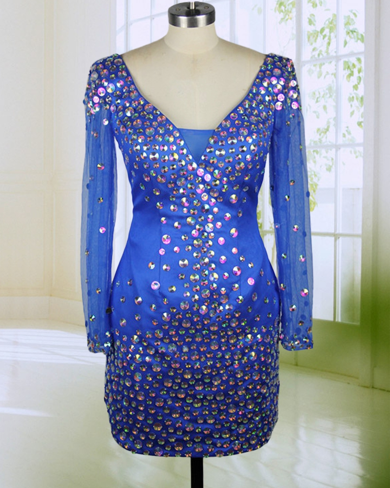 Great Design Rhinestones   Cocktail     Dress   Hot Mini Style V Neck Long Sleeves Woman Party Gown robe   cocktail   courte chic