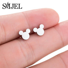 SMJEL Cartoon Mickey Earrings for Women Stainless Steel Animal Mouse Fashion Earings Jewelry Pendients Children Kids Gifts