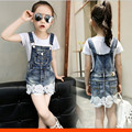 Children's Clothing Spring summer Autumn Girls Denim Overalls Blue Jean lace Overalls For Kids Girls Rompers Free Shipping 54