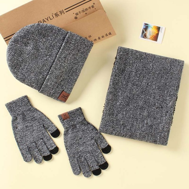 001d0285365 Fashion A Set Of Men Women Winter Hats Scarves Gloves Cotton Knitted Hat  Scarf Set For Male Female Winter Accessories 3 Pieces