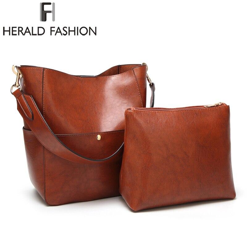 купить Herald Fashion New 2pcs Composite Bag Women Solid Leather Shoulder Bags Women's Casual Tote Bag Designer Female Bucket Handbags онлайн