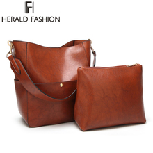 Herald Fashion New 2pcs Composite Bag Women Solid Leather Shoulder Bags Womens Casual Tote Designer Female Bucket Handbags
