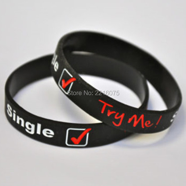 US $150 0 |300pcs SINGLE TRY ME wristband silicone bracelets free shipping  by DHL express-in Cuff Bracelets from Jewelry & Accessories on