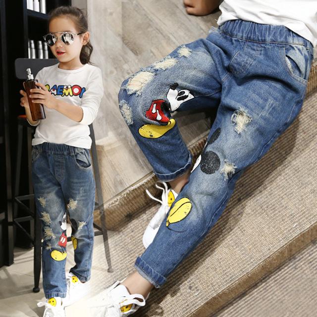 El Nuevo Año, la primavera y El Otoño de Nuevo Mickey de la Historieta Impresa Cintura Elástico Coreano Niñas Niños Denim Jeans, pantalones vaqueros de las muchachas