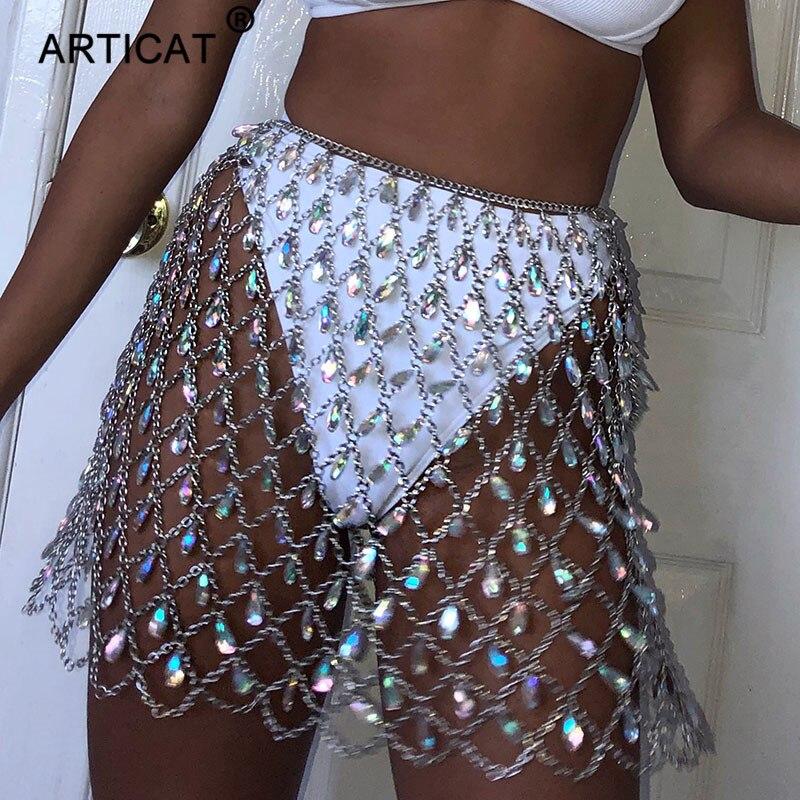 ARTICAT 最も安い Mobile メタルグリッタークリスタルダイヤモンドスカート女性ハイウエスト中空アウトスパンコールボディコンミニスカートナイトクラブパーティースカート