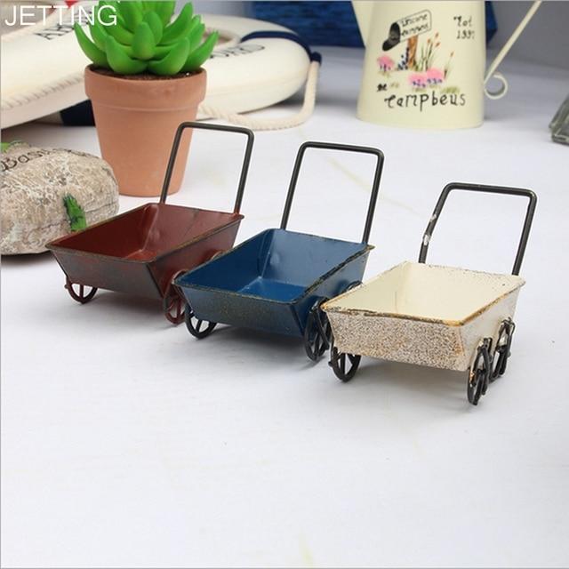 1*iron Cart Mini Handmade Carts Miniature Fairy Garden Miniature Craft Home  Decor Series Vintage