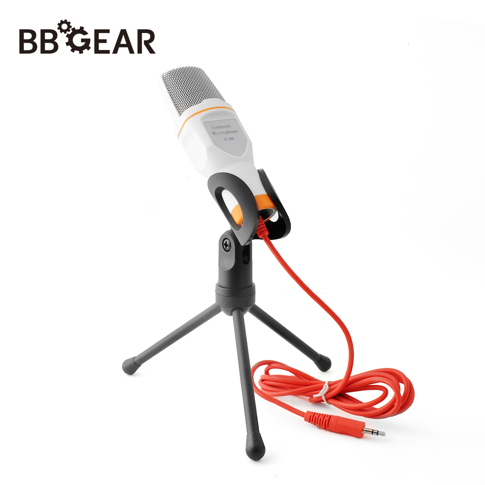 BBGear Condenser Microphone 3.5mm Wired Desktop Broadcasting Studio Microphones with Mini Tripod Mic for Computer PC Smartphone