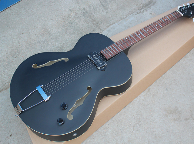 Factory Custom Matte Black Hollow Body Electric Guitar With 2 F HoleWhite Tuners
