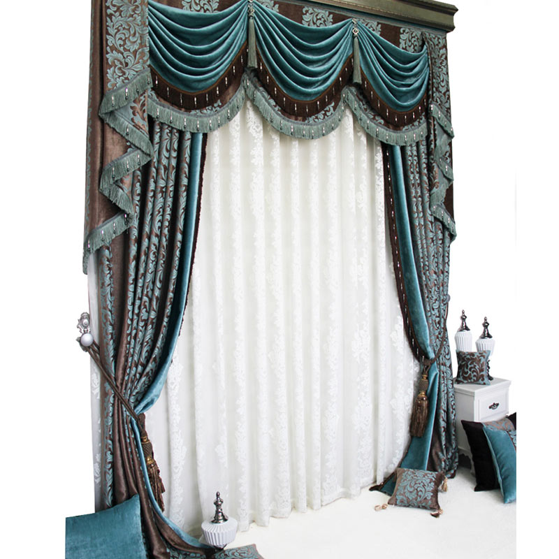 Custom curtains high class luxury Professional blue European thickened chenille Jacquard blackout curtain valance tulle N221 window valance