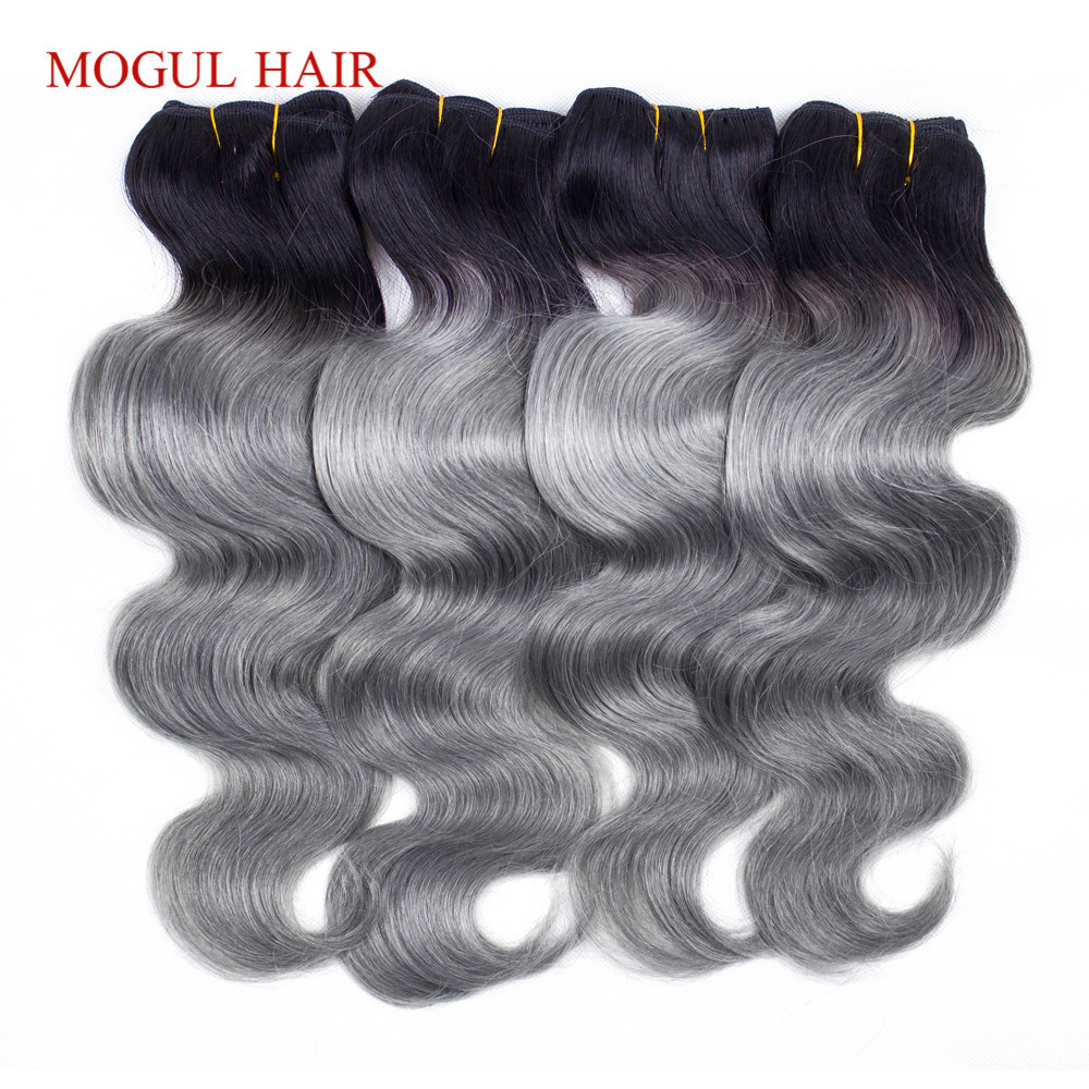 MOGUL HAIR 2/3/4 Bundle Deals T 1B Grey Brazilian Body Wave Ombre Remy Human Hair Weave Extensions 10-18 Inch