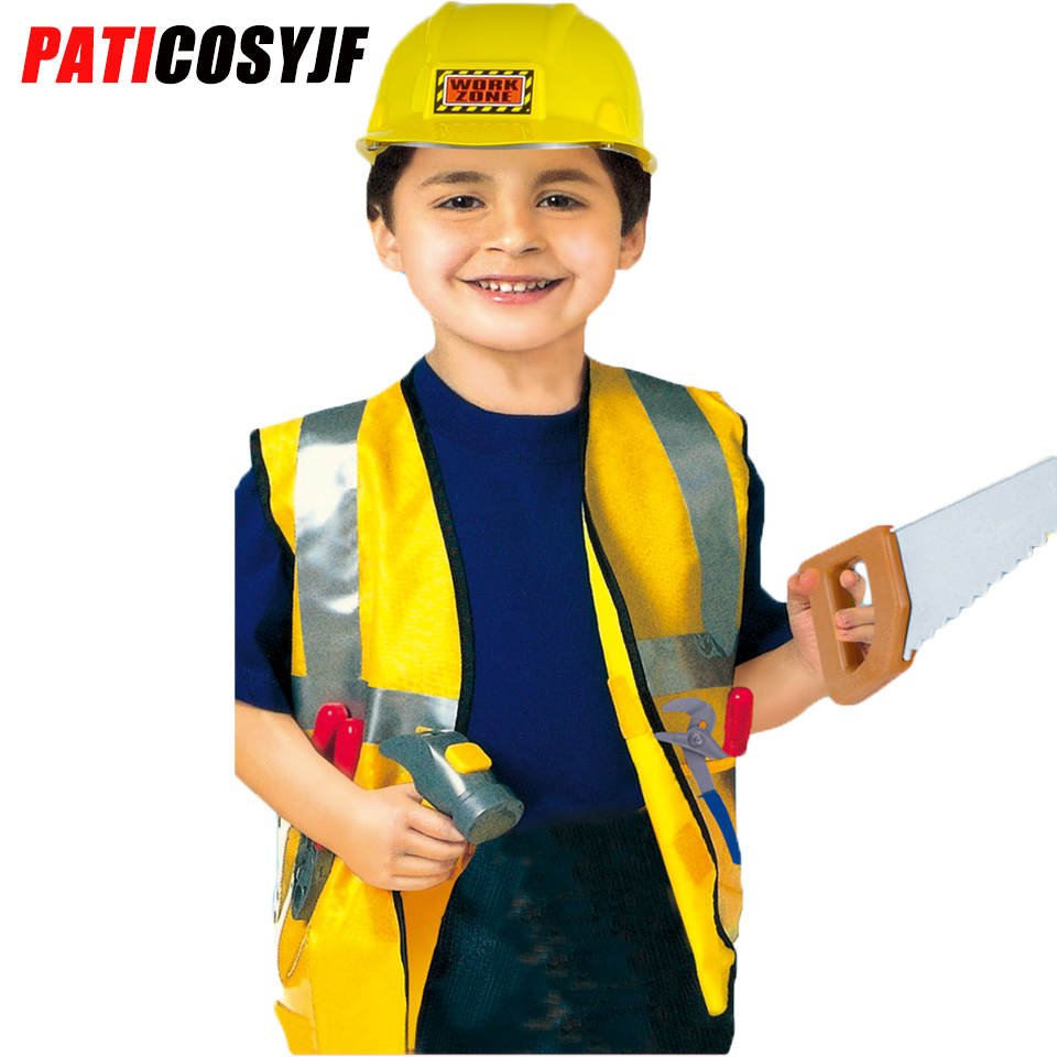 KIDS CHILDRENS BOYS CONSTRUCTION WORKER BUILDER COSTUME OUTFIT BUILDERS HAT