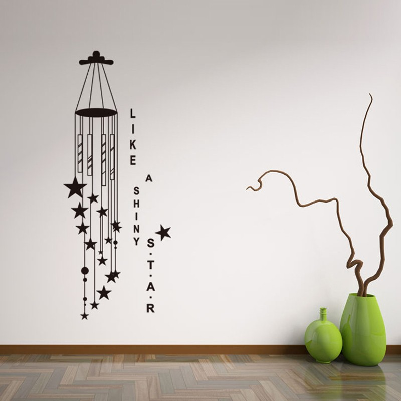 Black Wind Chime Like Shiny Star Wall Decals Vinyl Wall Sticker - Wall decals like wallpaper