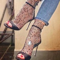 Hot 2019 New Spring Mesh Lace Crystal Women Boots High Heels Gladiator Sandals Women Summer Ankle Boots Shoes Woman Botas Mujer