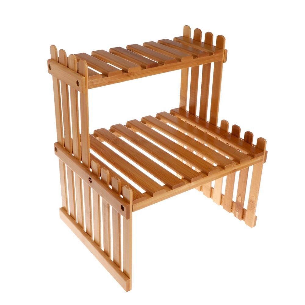 مصنع الجرف زهرة عرض موقف الخيزران الخشب تخزين الرف حديقة منظم