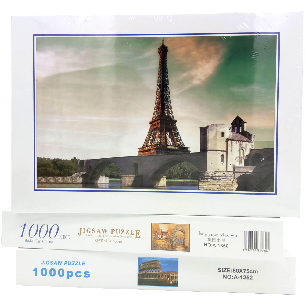 1000pcs DIY Jigsaw Puzzle Eiffel Tower Paper Stickers for Wall Decoration Can Customized series s 3d puzzle paper diy papercraft double decker bus eiffel tower titanic tower bridge empire state building