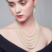 2018 New pearl necklace with earrings jewelry earrings jewelry for woman statement glass pearl necklace nice quality wholesale joolim high quality long simulated pearl tassel maxi necklace multi layered necklace statement jewelry wholesale