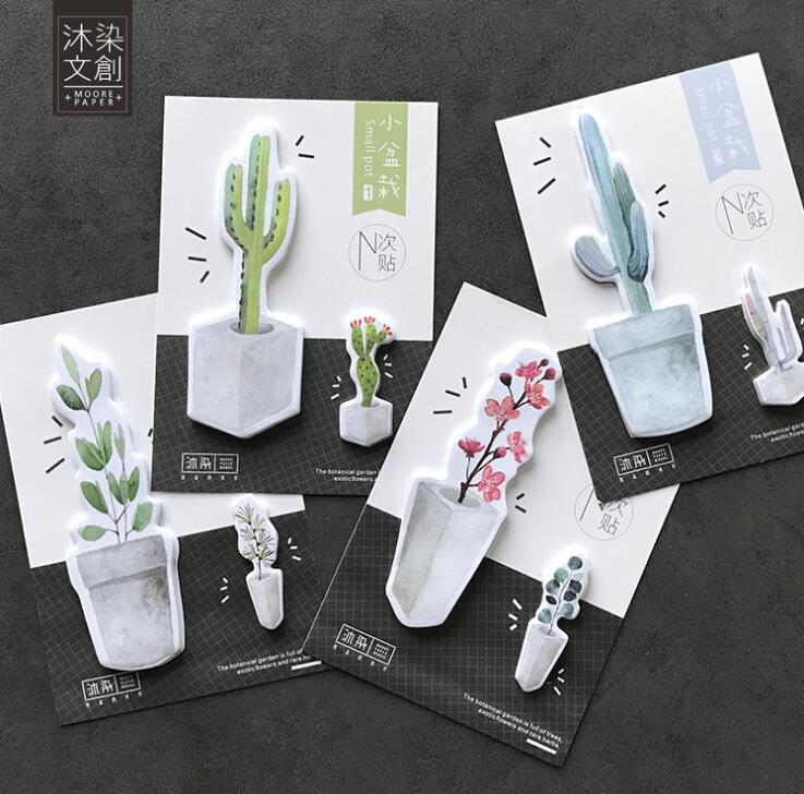 Fresh Plant Small Pot Memo Pad N Times Sticky Notes Escolar Papelaria School Supply Bookmark Label