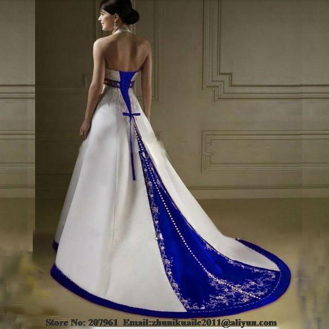 blanco y azul a line vestidos novia 2016 satén con bordado con
