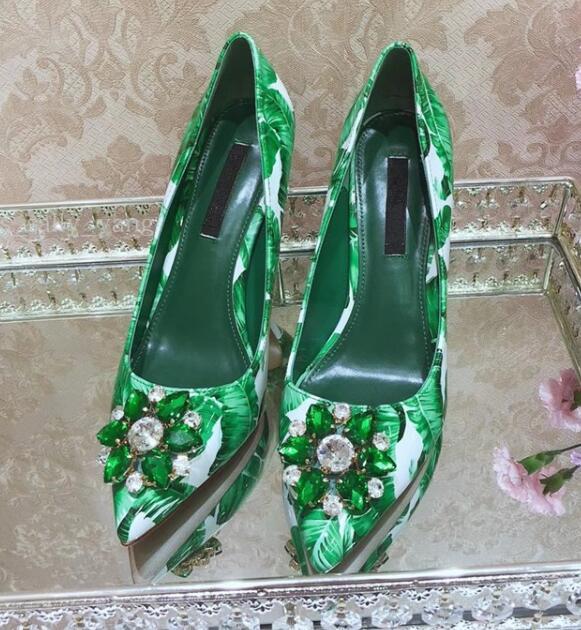 Luxury green diamonds woman pointed toe high heels Banana leaf rhinestones woman stilettos real photos green