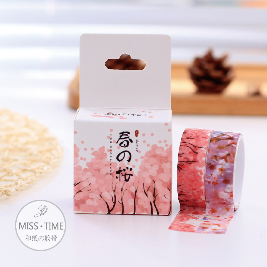 2pcs Japanese Kawaii Sakura In Spring Cinta Washi Tape Stickers Diy Masking Tape Scrapbook Decorative Tapes Papeleria 15MM*3M