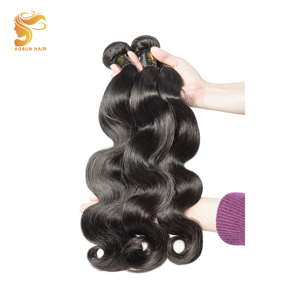 AOSUN HAIR Peruvian Body Wave Hair Bundles Extension 8-28 Inches Natural Color Remy Hair Weaves Wet and Wavy 100% Human Hair