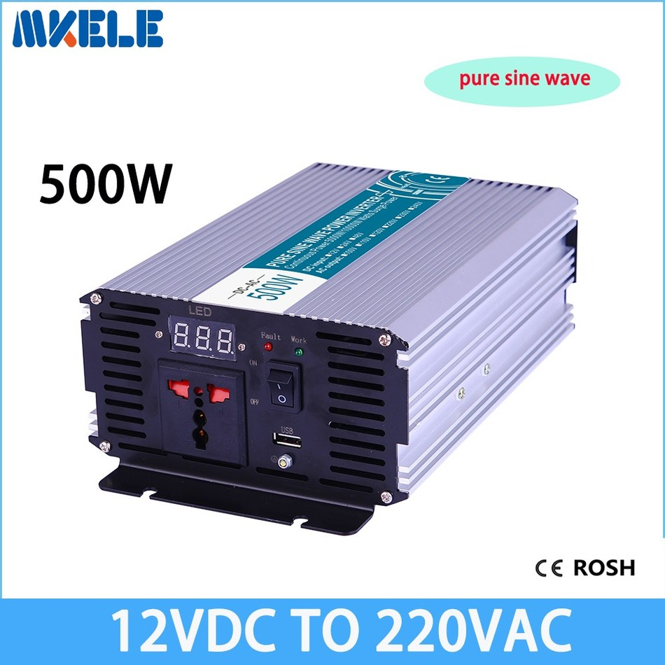 pure sine wave inverter voltage converter solar inverter 12VDC to 220VAC 500w off gird power inverter inversor MKP500-122