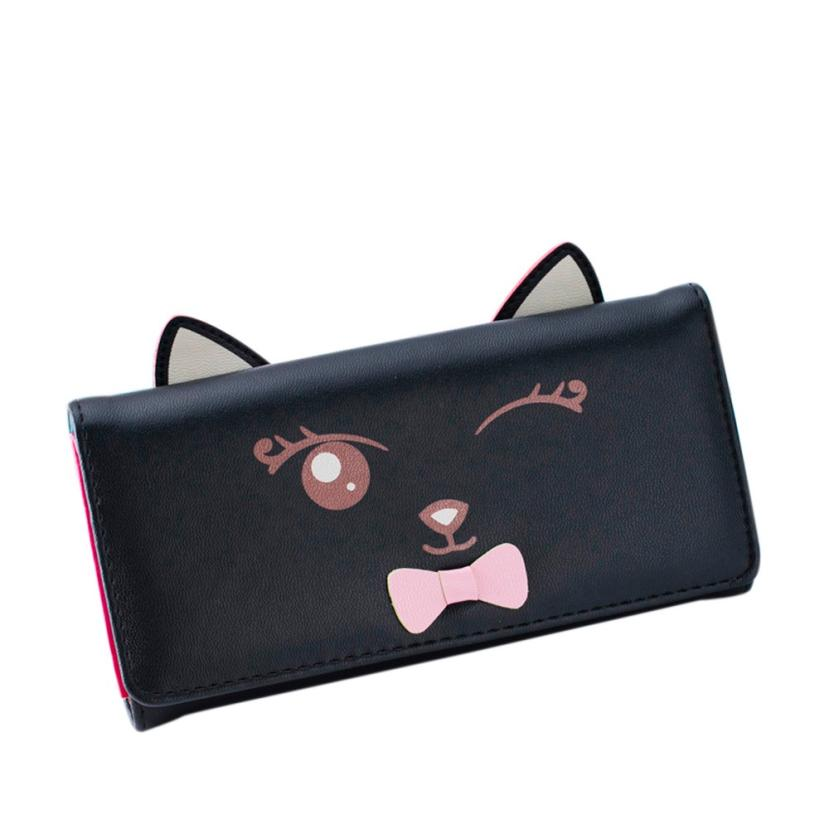 Purse Female 2017 Women Wallets Cat Pattern Coin Purse Long Wallet Women Card Holders Handbag carteras mujer bolsa feminina long designer women wallets new female hollow out wallet money bag lady card coin purse carteras cuzdan bolsa feminina