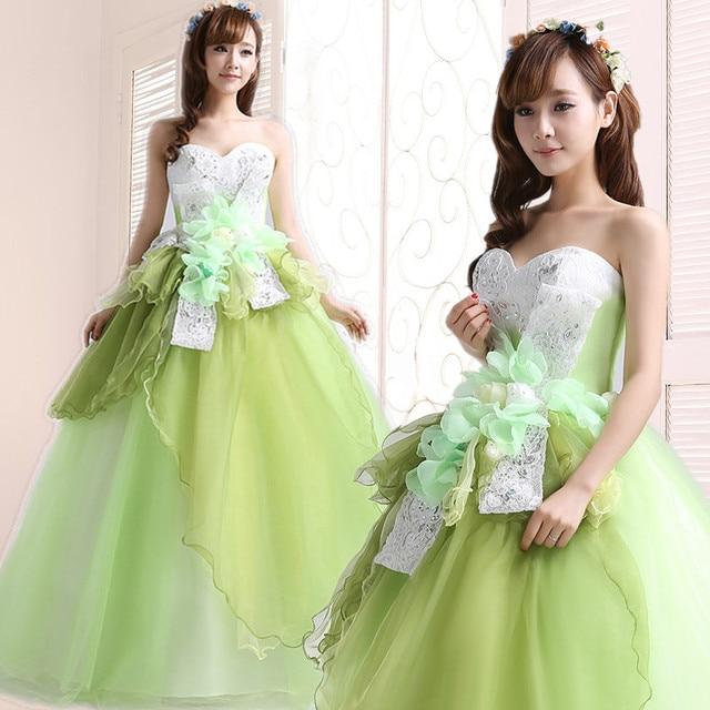 Jassen 2015 nieuwe lente solo plus size lange pettiskirt quinceanera jurk groen