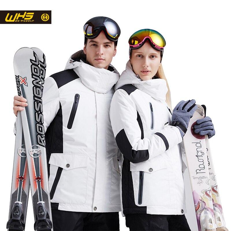 WHS Nouveau Couple Veste de Ski D'hiver De Neige En Plein Air Coton Sportswear femme Chaud Manteau extérieur Imperméable et Coupe-Vent Veste blanche