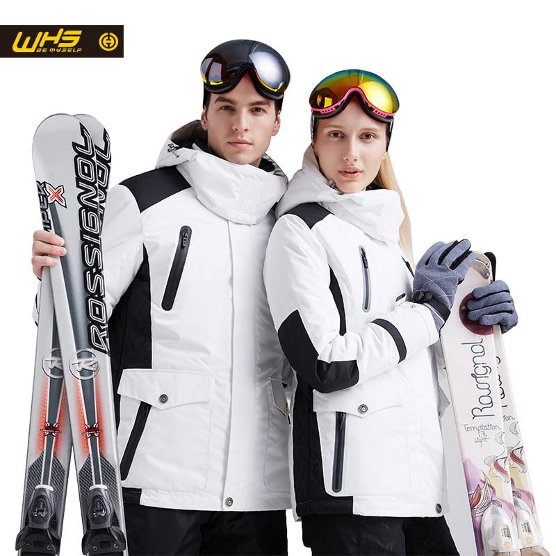 WHS nueva pareja chaqueta de esquí de invierno al aire libre de nieve de algodón Ropa deportiva Mujer abrigo al aire libre impermeable y chaqueta blanca a prueba de viento