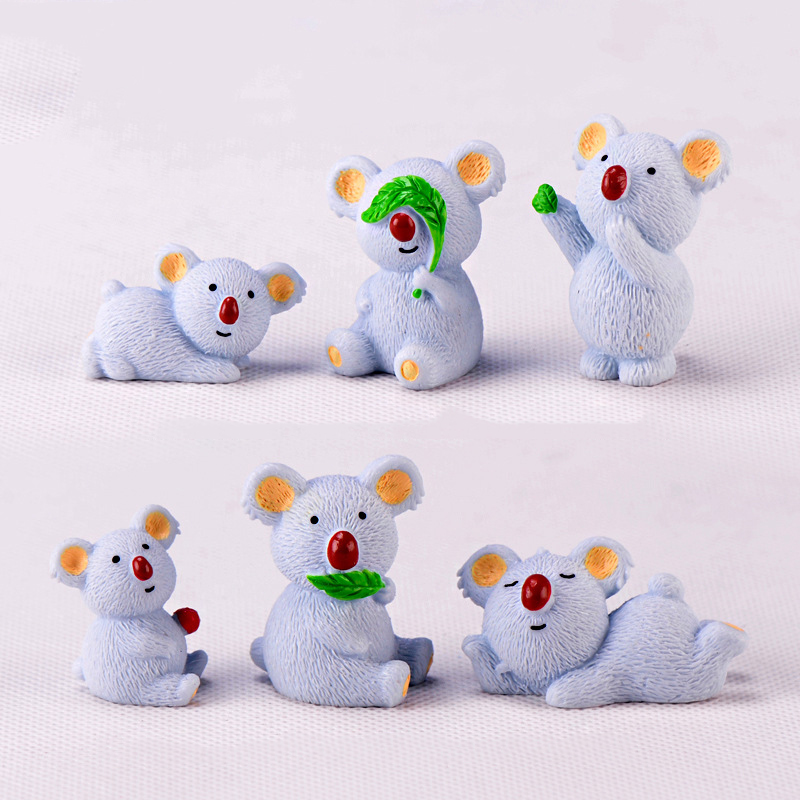 Mini Resin Koala Animal Figurine Miniature Fairy Garden Home Decoration Room Accessories Feng Shui Miyazaki Easter Home Decor