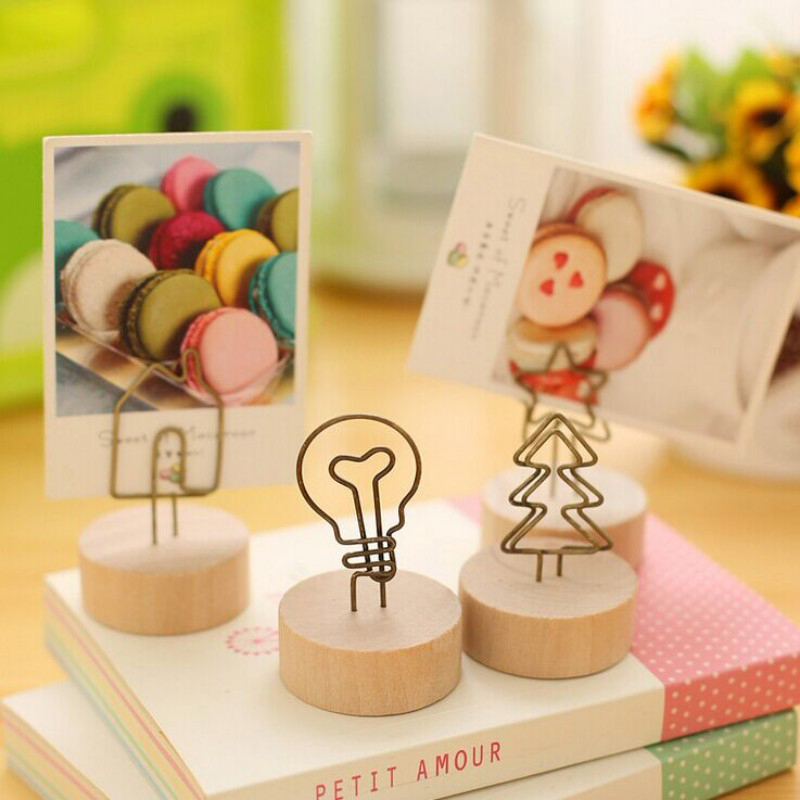 3pcs Creative Table Place Card Holder Wooden Iron Photo Holder Message Note Clip Baby Shower Wedding Decoration Party Supplies image