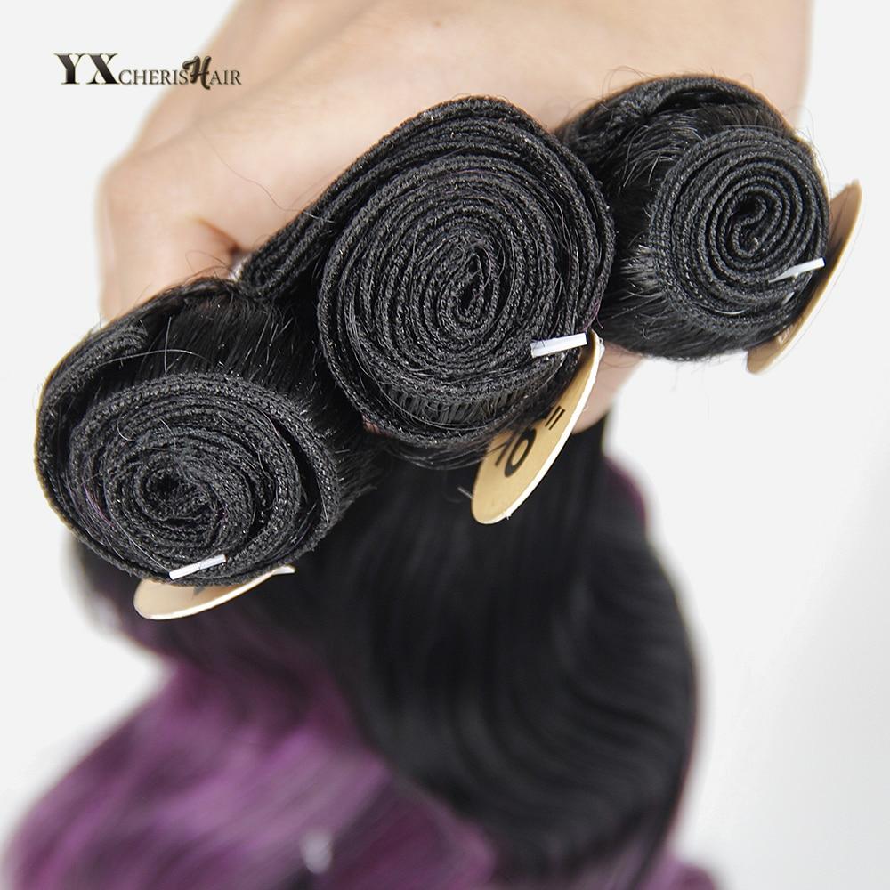 Naturkroppsvåg 3 Bundlar med Snörningslås Ombre Syntetiska - Syntetiskt hår - Foto 5