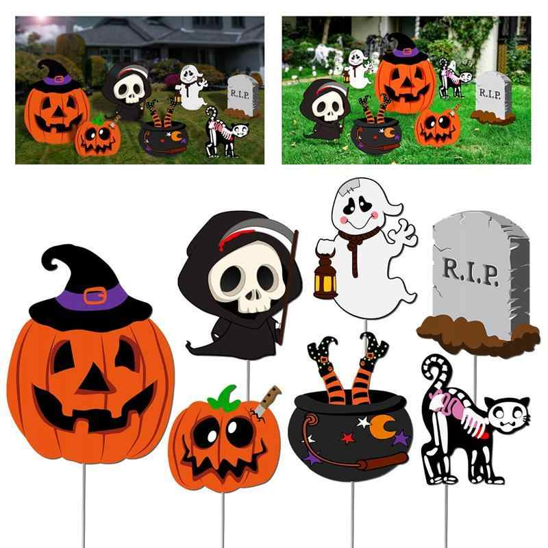 Halloween Yard Stakes.7pcs Halloween Yard Stakes Set Outdoor Lawn Decorations Happy Halloween Props Scary Items Party Decoration Supplies Home Decor