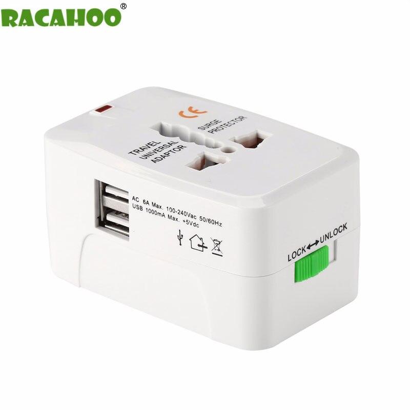 RACAHOO Universal International Plug Adapter 2 USB Port World Travel AC Power Charger Adapter with AU US UK UK Converter Plug