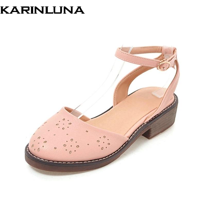 KARINLUNA nueva mujer tobillo correa sólido cuadrado med tacones - Zapatos de mujer