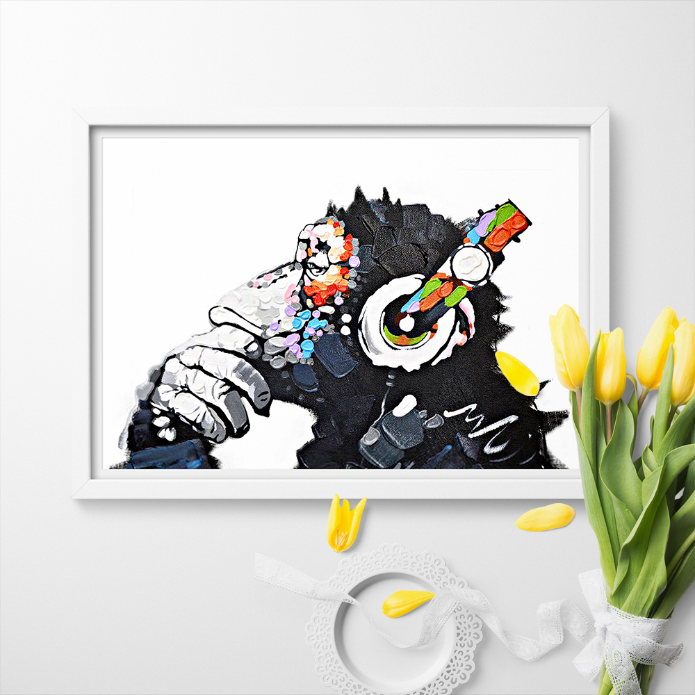 Gorilla Funny Thinking Monkey With Headphone Canvas Poster Art Print Canvas Painting Wall Art Home Decor No Frame