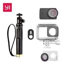 Yi 4 К Камера Водонепроницаемый чехол с палка для селфи и Bluetooth Remote и защитные линзы и кожаный чехол Подводный спорт Yi официальный