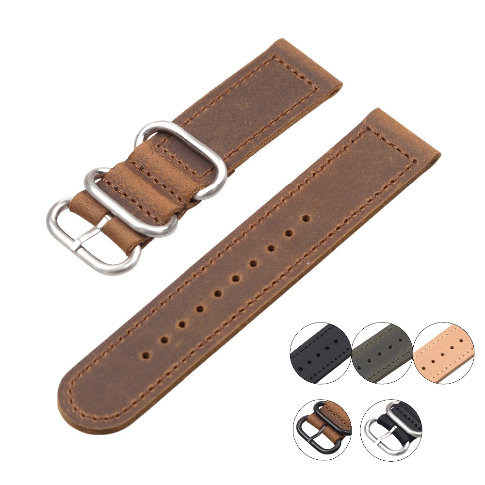 EACHE Genuine Leather ZULU leather Watchband More colors & Size 20mm 22mm 24mm eache high quality crazy horse genuine leather watchband handmade watch band with speical loops different colors 20mm 22mm 24mm