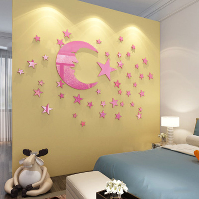 DIY 3D Mirror Moon Wall Sticker Kids Room Baby Bedroom Waterproof ...