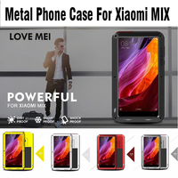 For Xiaomi Mix LOVE MEI Life Water Resistant Shockproof Armor Metal Case Cover Tempered Glass For