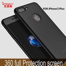 Pour iPhone 6 6 s cas 7 7 Plus case ipaky Marque téléphone cas gommage 360 Degrés Pleine Protection Dur PC Shell Couverture + Trempé verre