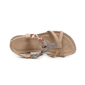 Image 4 - BEYARNE Sandalias bohemias con diamantes de imitación para mujer, zapatos planos con diamantes de imitación, informales, étnicos, para playa, talla grande 45